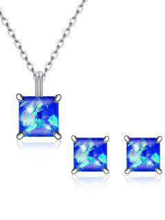 Square Crystal Inlaid Pendant Necklace Earrings Set - Blue