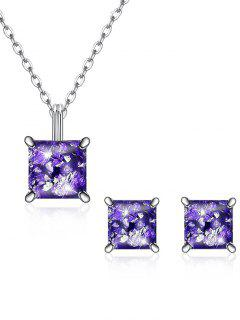 Square Crystal Inlaid Pendant Necklace Earrings Set - Purple
