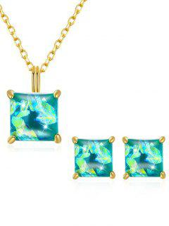 Artificial Gem Inlaid Pendant Necklace Stud Earrings Set - Green