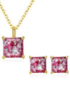 Artificial Gem Inlaid Pendant Necklace Stud Earrings Set - Hot Pink