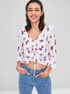 Wassermelone Druck Flare Ärmel Crop Bluse - Weiß Xl