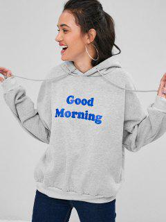 Letter Graphic Loose Hoodie - Gray
