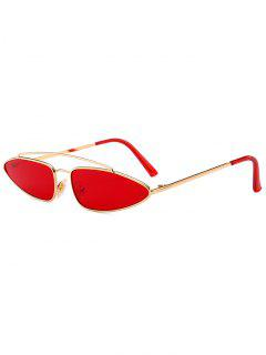 Stylish Irregular Lens Crossbar Sunglasses - Red
