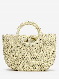 Minimalist Straw Tote Bag For Vacation - Beige