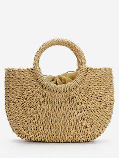 Minimalist Straw Tote Bag For Vacation - Light Khaki