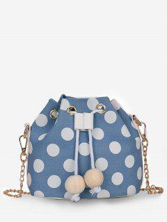 Color Block Polka Dot String Crossbody Bag - Butterfly Blue