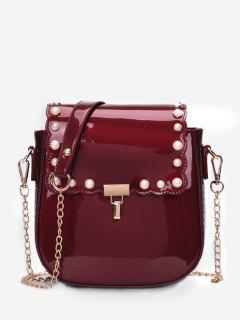 Flap Faux Pearls Chic Chain Sling Bag - Red Wine