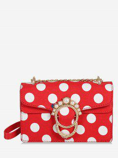 Metal Buckle Faux Pearl Polka Dot Chain Bag - Fire Engine Red