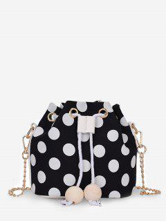 Color Block Polka Dot String Crossbody Bag - Black