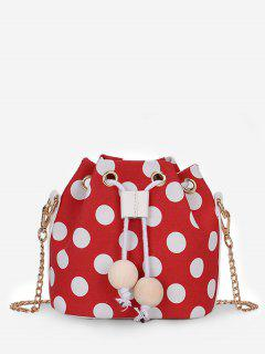 Color Block Polka Dot String Crossbody Bag - Fire Engine Red
