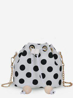 Color Block Polka Dot String Crossbody Bag - Milk White