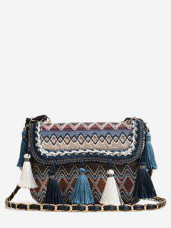 Patchwork Color Block Tassels Tribal Crossbody Bag - Blue
