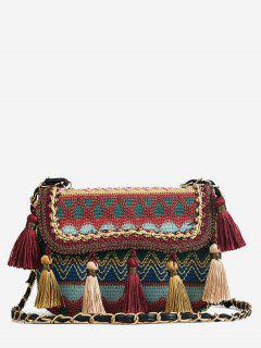 Patchwork Color Block Tassels Tribal Crossbody Bag - Chestnut Red