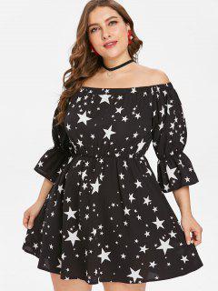 Übergroße Schulterfreies Sterne Druck Kleid - Schwarz 4x