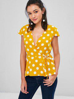 Cap Sleeve Dotted Wrap Blouse - School Bus Yellow M