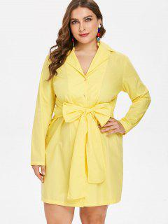 Plus Size Bow Tie Long Sleeve Dress - Yellow 2x