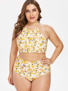 Floral Plus Size High Cut Bikini Set - Rubber Ducky Yellow 3x