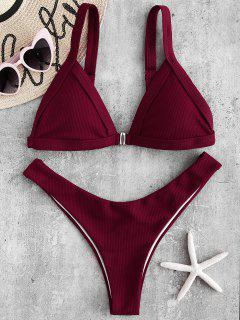 Gerippter Bikini Mit Hohem Beinabschluss - Roter Wein S