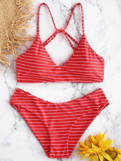Caged Striped Bikini Set - Red M