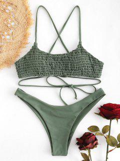 Lace-up Cross Strap Smocked Bikini - Sage Green M