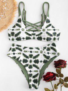 Gitter Tie Dye High Cut Bikini - Rehbraunes Grün S