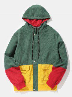 Color Block Patchwork Corduroy Hooded Jacket - Beetle Green Xl