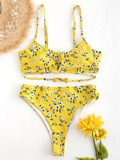 Schnür-Blumen-High Cut-Bikini - Niedliches Gummi Gelb M