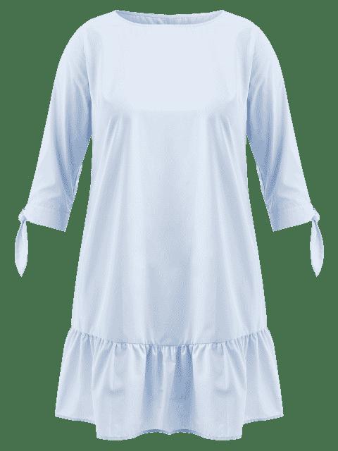 outfit Knot Sleeve Plus Size Flounce Dress - LIGHT SKY BLUE L Mobile