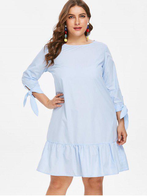outfits Knot Sleeve Plus Size Flounce Dress - LIGHT SKY BLUE 3X Mobile