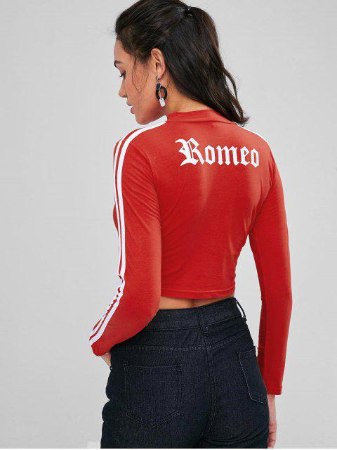 sale Stripe Cropped Graphic Tee - RED M Mobile