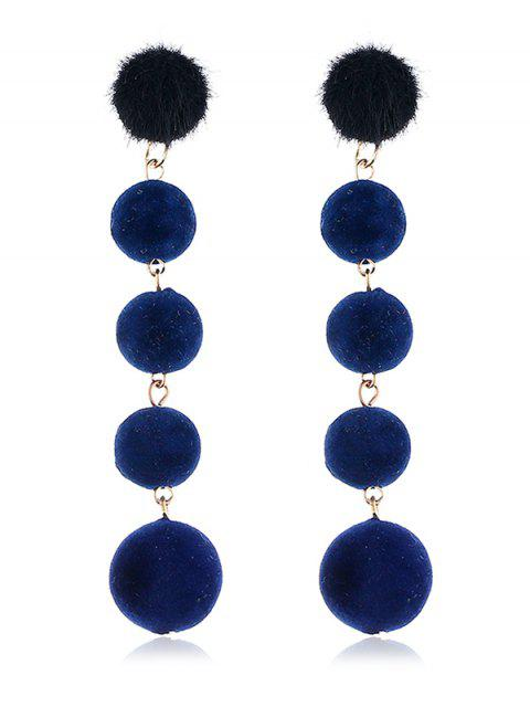 fancy Dangling Fuzzy Balls Decorative Drop Earrings - NAVY BLUE  Mobile