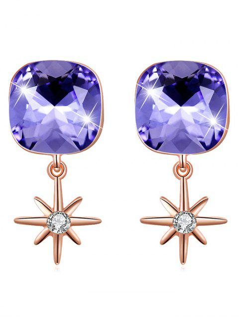 womens Elegant Square Crystal Star Drop Earrings - PURPLE SAGE BUSH  Mobile