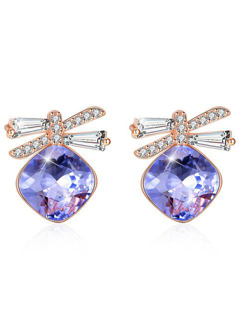 ladies Shiny Rhinestone Bowknot Crystal Earrings - PURPLE FLOWER  Mobile