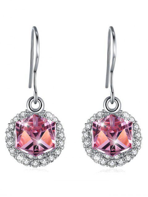 Stilvolle Strass Intarsien Kristall Haken Ohrringe - Helles Rosa  Mobile