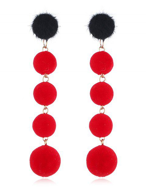 chic Dangling Fuzzy Balls Decorative Drop Earrings - RED  Mobile
