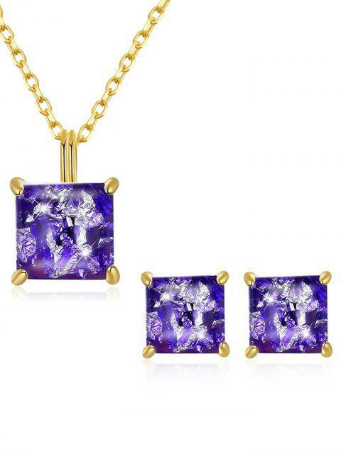fancy Artificial Gem Inlaid Pendant Necklace Stud Earrings Set - PURPLE  Mobile