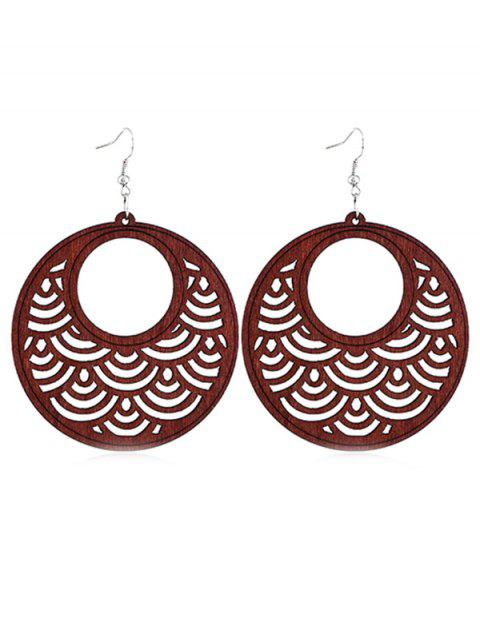 Évider boucles d'oreilles en bois rondes - Rouge Sang  Mobile