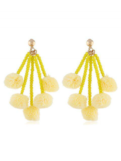 buy Cute Fuzzy Balls Beaded Drop Earrings - YELLOW  Mobile