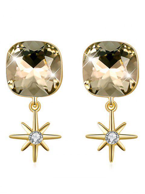 Elegante quadratische Kristallstern-Tropfen-Ohrringe - Gold  Mobile