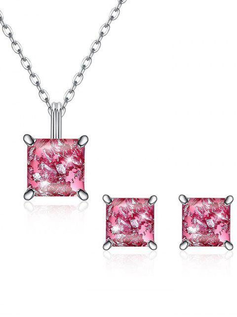chic Square Crystal Inlaid Pendant Necklace Earrings Set - HOT PINK  Mobile