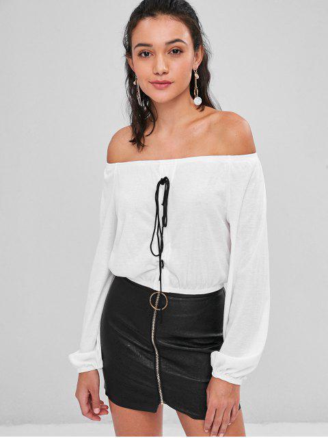 sale Off Shoulder Lace Up Tee - MILK WHITE M Mobile