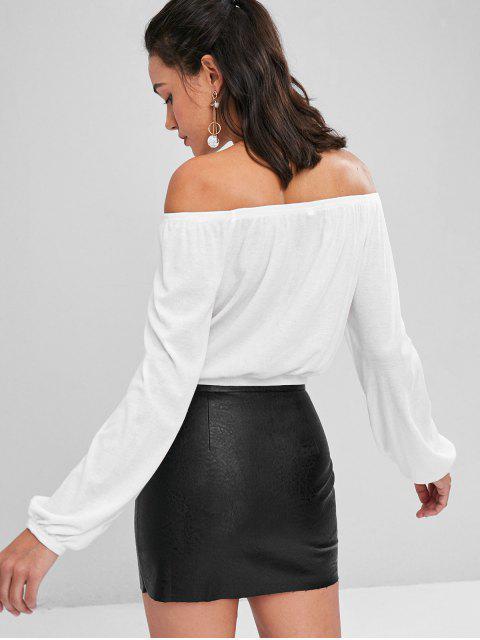 Schulterfreies Schnürung T-Shirt - Milchweiß L Mobile