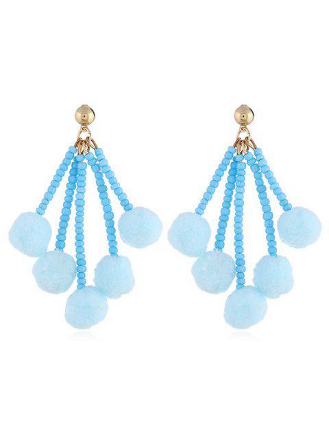 Süße Fuzzy Balls Perlen Ohrringe - Jeans Blau  Mobile