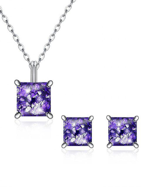 shop Square Crystal Inlaid Pendant Necklace Earrings Set - PURPLE  Mobile