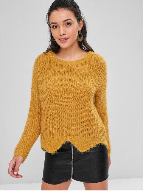 lady Zigzag Hem Loose Knit Sweater - BEE YELLOW M Mobile