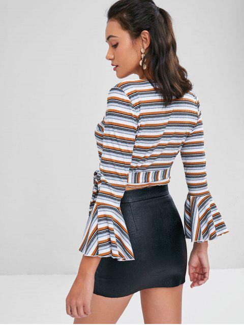 fashion Flare Sleeves Striped Wrap Top - COFFEE L Mobile