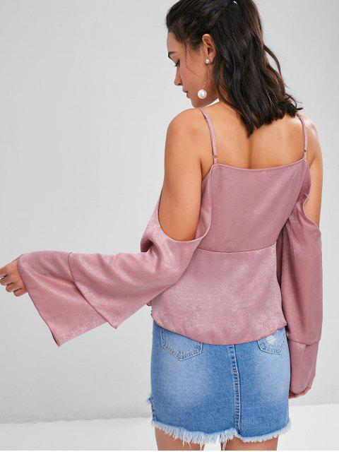 women's Cold Shoulder Flare Sleeve Blouse - LIPSTICK PINK XL Mobile