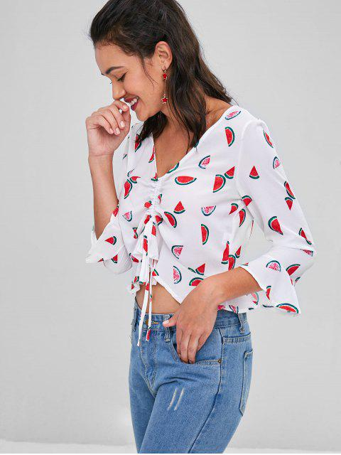 womens Watermelon Print Flare Sleeve Crop Blouse - WHITE L Mobile