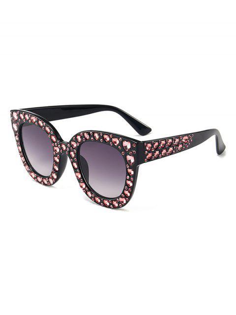 Anti Müdigkeit Herz Strass Intarsien übergroßen Sonnenbrillen - Granit  Mobile