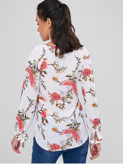 ladies Crisscross Floral Wrap Top - WHITE M Mobile